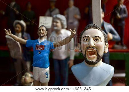 Naples Italy - December 9 2016: San Gregorio Armeno the statuette hand-made player Gonzalo Higuaín