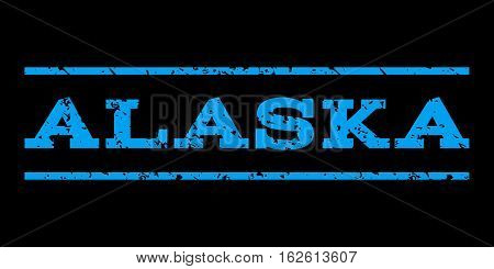 Alaska watermark stamp. Text caption between horizontal parallel lines with grunge design style. Rubber seal stamp with dirty texture. Vector blue color ink imprint on a black background.