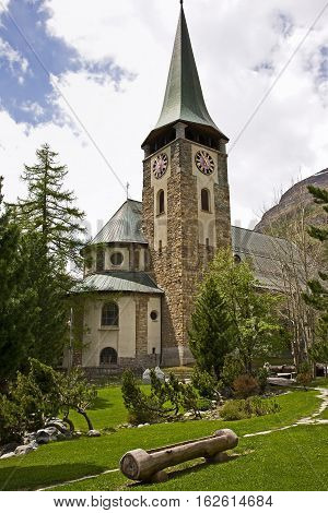 Church at the center of Zermatt. Contains fascinating headstones for brave climbers who died ascending the Matterhorn.