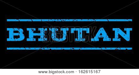 Bhutan watermark stamp. Text caption between horizontal parallel lines with grunge design style. Rubber seal stamp with unclean texture. Vector blue color ink imprint on a black background.