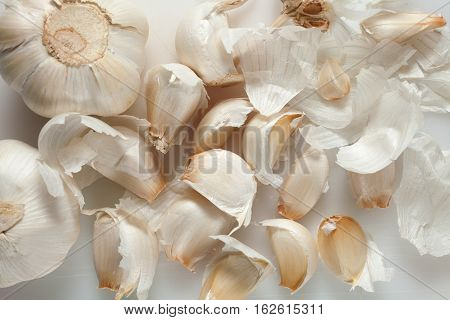 Garlic isolated on white background top view