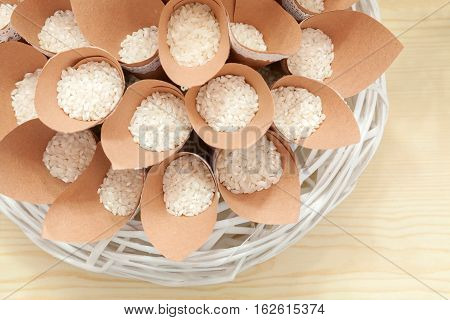 Wedding confetti with rice up view in studio