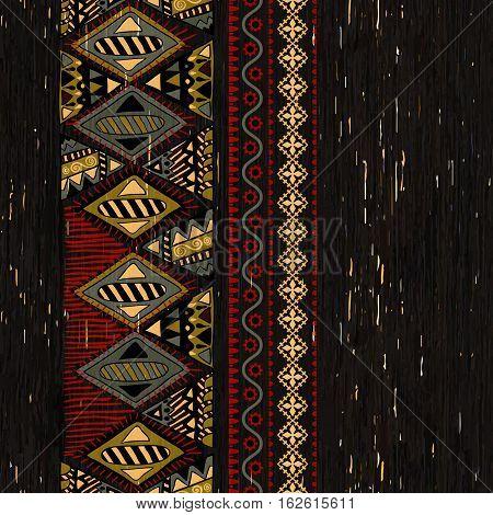Vertical Ornamental Seamless Pattern. Dark Ethnic Backdrop