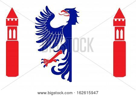 Flag of Karlstad is a capital city of Varmland County in the province Varmland in Sweden. 3d illustration