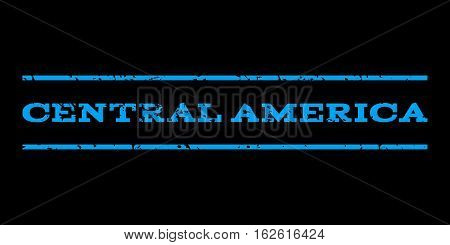 Central America watermark stamp. Text tag between horizontal parallel lines with grunge design style. Rubber seal stamp with dirty texture. Vector blue color ink imprint on a black background.