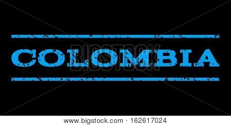 Colombia watermark stamp. Text caption between horizontal parallel lines with grunge design style. Rubber seal stamp with scratched texture. Vector blue color ink imprint on a black background.