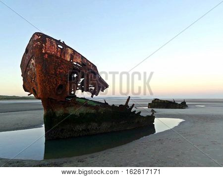 Baltray Shipwreck, County Drogheda, Ireland. Grounded in 1974.