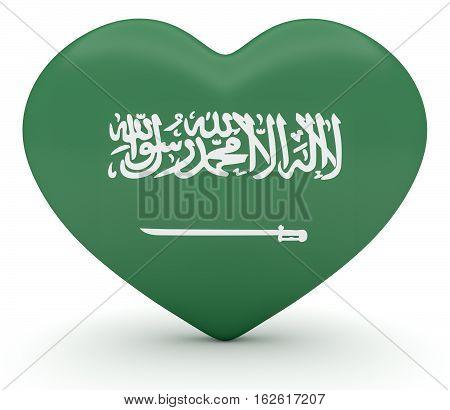 Love Saudi Arabia: Saudi Arabian Flag Heart 3d illustration