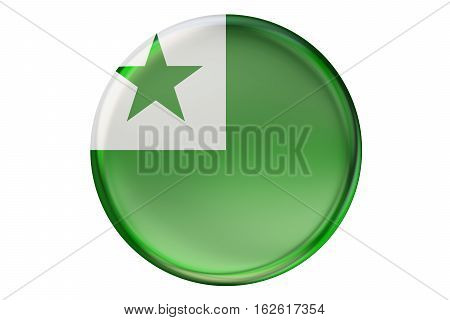 Badge with flag of Esperanto 3D rendering isolated on white background