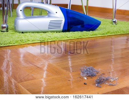 Dust On Floor. House Cleaning
