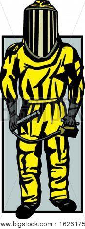 person in biohazard suit