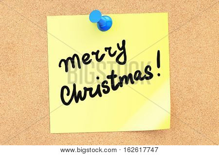 Merry Christmas text on a sticky note pinned to a corkboard. 3D rendering
