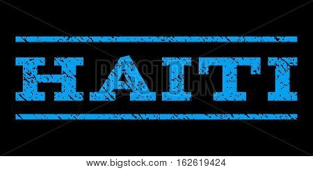 Haiti watermark stamp. Text caption between horizontal parallel lines with grunge design style. Rubber seal stamp with dirty texture. Vector blue color ink imprint on a black background.