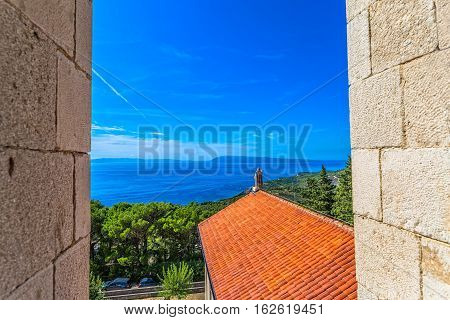 View from the St. Anthony church tower in old village Tucepi in Dalmatia.