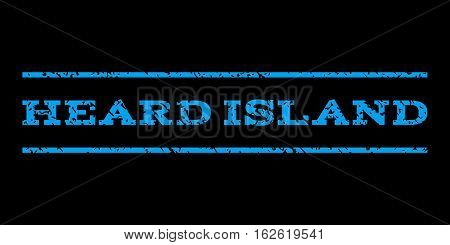 Heard Island watermark stamp. Text caption between horizontal parallel lines with grunge design style. Rubber seal stamp with scratched texture. Vector blue color ink imprint on a black background.