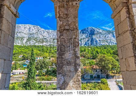 View from the St. Anthony church bell tower in old village Tucepi in Dalmatia.