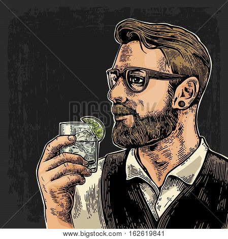 Hipster holding a glass of gin. Vintage vector engraving illustration for web poster invitation to party. Time to Drink lettering. Isolated on dark background.