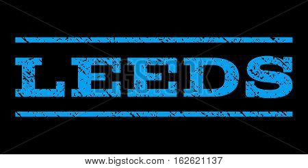 Leeds watermark stamp. Text caption between horizontal parallel lines with grunge design style. Rubber seal stamp with scratched texture. Vector blue color ink imprint on a black background.