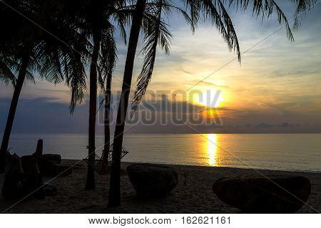 Silhouette stone and coconut at Ban Krut Beach Prachuap Khirikhun Province Thailand
