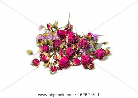 Dried pink roses isolated on white background. Love symbol for st. valentines day. Herbarium.
