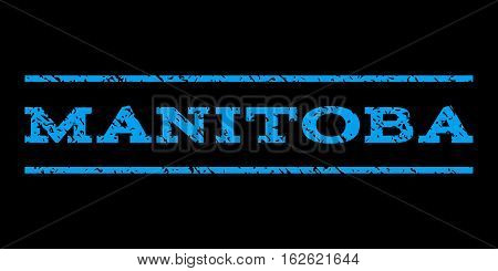 Manitoba watermark stamp. Text caption between horizontal parallel lines with grunge design style. Rubber seal stamp with scratched texture. Vector blue color ink imprint on a black background.
