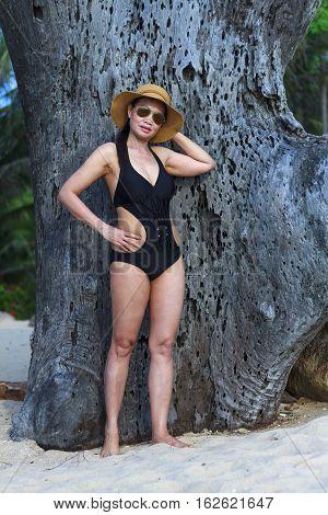 Lady show shape natural in Ban Krut Beach at Prachuap Khirikhun Province Thailand