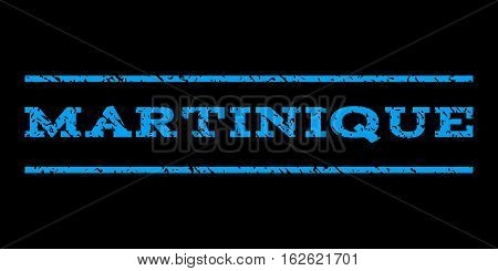 Martinique watermark stamp. Text caption between horizontal parallel lines with grunge design style. Rubber seal stamp with scratched texture. Vector blue color ink imprint on a black background.
