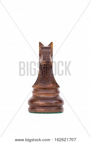 boxwood black knight chess piece isolated on white