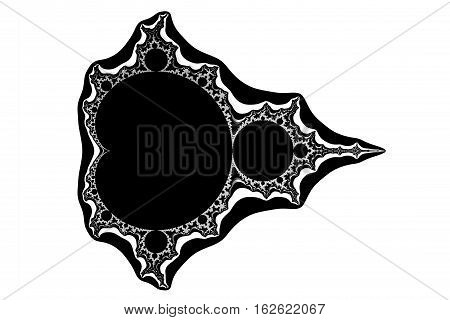 the mathematic fractal mandelbrot set on white background