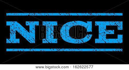 Nice watermark stamp. Text caption between horizontal parallel lines with grunge design style. Rubber seal stamp with dirty texture. Vector blue color ink imprint on a black background.