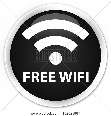 Free Wifi Premium Black Round Button
