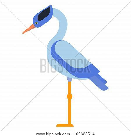 Stork lovely bird, crane grus and stork white crane flying cartoon animal. Announcement nature little standing and flying sarus cute vector illustration.