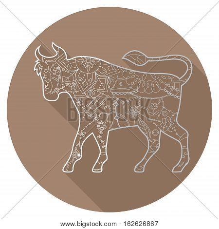 Vector flat icon of zodiac sign Taurus