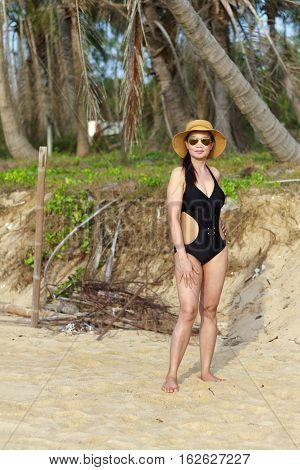 Lady body pretty natural in Ban Krut Beach at Prachuap Khirikhun Province Thailand