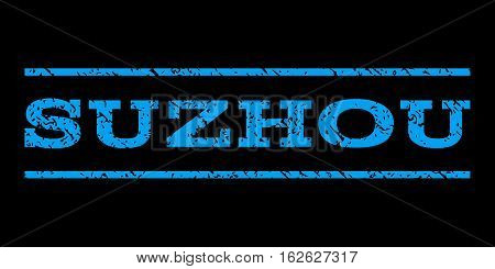 Suzhou watermark stamp. Text tag between horizontal parallel lines with grunge design style. Rubber seal stamp with scratched texture. Vector blue color ink imprint on a black background.