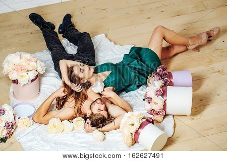 Sexy Couple Lovers On Floor