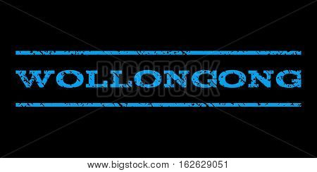 Wollongong watermark stamp. Text caption between horizontal parallel lines with grunge design style. Rubber seal stamp with dust texture. Vector blue color ink imprint on a black background.