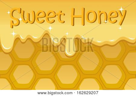 Honeycomb vector illustration for background with text place. Sweet honey horizontal image. Liquid honey flow. Honey comb natural pattern for banner template or food package. Sweet honey picture
