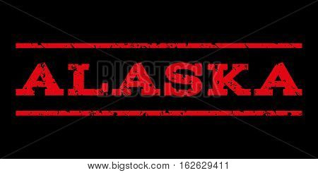 Alaska watermark stamp. Text caption between horizontal parallel lines with grunge design style. Rubber seal stamp with scratched texture. Vector red color ink imprint on a black background.