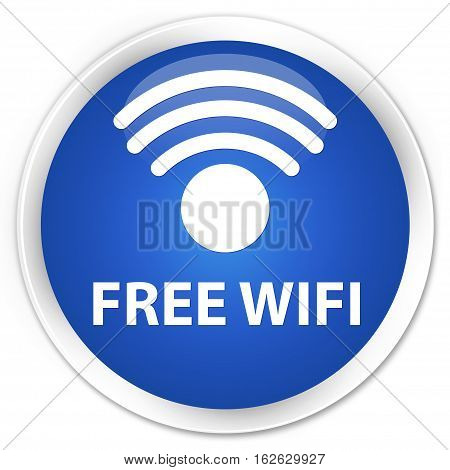 Free Wifi Premium Blue Round Button