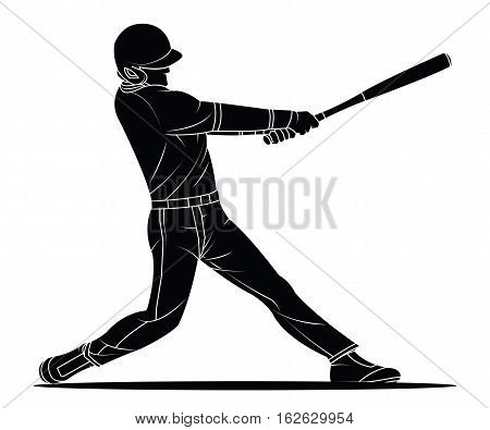 Baseball player hitter. Sport action Vector illustration.