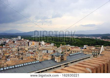 Looking over the Old Town of Girona. Catalonia, Spain