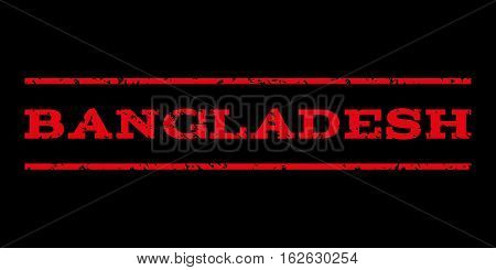 Bangladesh watermark stamp. Text tag between horizontal parallel lines with grunge design style. Rubber seal stamp with dust texture. Vector red color ink imprint on a black background.