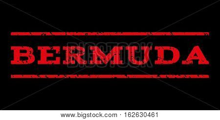Bermuda watermark stamp. Text tag between horizontal parallel lines with grunge design style. Rubber seal stamp with dust texture. Vector red color ink imprint on a black background.