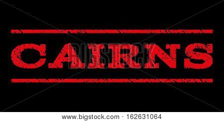 Cairns watermark stamp. Text caption between horizontal parallel lines with grunge design style. Rubber seal stamp with unclean texture. Vector red color ink imprint on a black background.