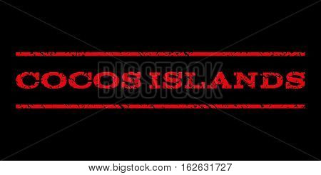 Cocos Islands watermark stamp. Text tag between horizontal parallel lines with grunge design style. Rubber seal stamp with scratched texture. Vector red color ink imprint on a black background.