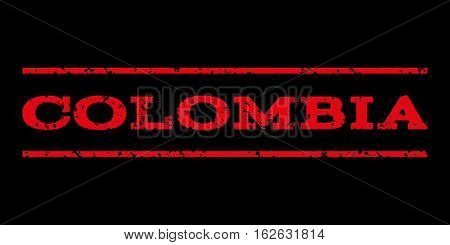 Colombia watermark stamp. Text caption between horizontal parallel lines with grunge design style. Rubber seal stamp with dirty texture. Vector red color ink imprint on a black background.