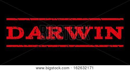Darwin watermark stamp. Text tag between horizontal parallel lines with grunge design style. Rubber seal stamp with dust texture. Vector red color ink imprint on a black background.