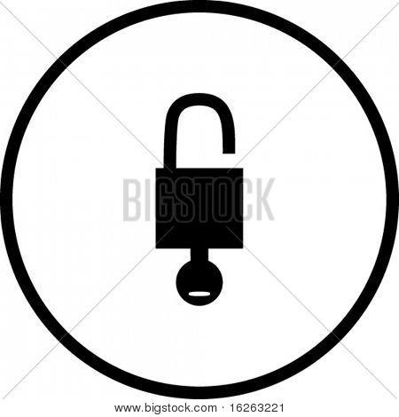 open padlock with key symbol