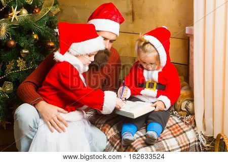 Christmas Bearded Father And Children